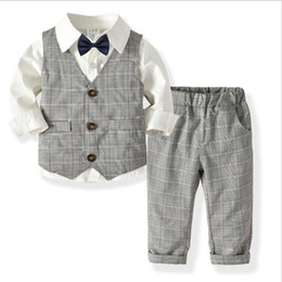 $enCountryForm.capitalKeyWord Australia - Boutique Gentleman Style Baby Boy Suits Kids Waistcoat Shirt Pants Tie Dress Suit Sets for Boys Birthday Party Outfits Retail
