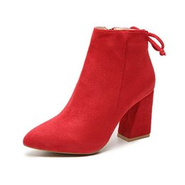 $enCountryForm.capitalKeyWord Australia - Lace Up Suede Boots Sexy Block Heel Ankle Boots for Women Fashion Autumn Winter Shoes 2020 Zipper Red Black Chunky Boots Heels