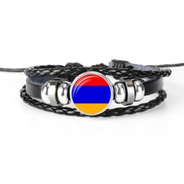 Fans Best Australia - Best Selling Customized Armenia National Flag World Cup Football Fan Time Gem Glass Button Bracelet Leather Rope Beads Jewelry for Men Women