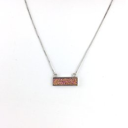 China kendra style natural druzy necklace Kendra style fashion designer necklace jewelry brass rhodium silver plated free shipping suppliers