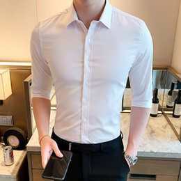 Formal Shirts Gray Color Australia - Men's Long sleeve Shirts Thin Blended Cotton Solid color Casual shirt Slim Free hot Brand Fashion Business formal shirt Male