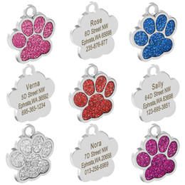 wholesale cat dog collar pendants Australia - Personalized Dog Tags Engraved Cat Puppy Pet ID Card Name Collar Tag Pendant Pet Accessories Bone Paw Glitter
