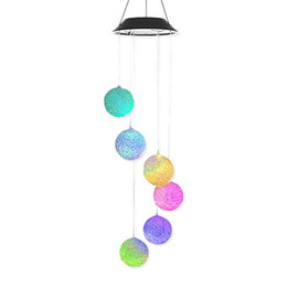 Wholesale DHL Solar Light Wind Chimes Mobile AceList Solar Power Decoration Spiral Spinner Changing Color Outdoor Garden Decor Gift