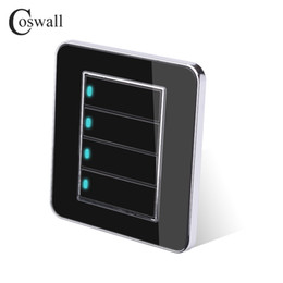 $enCountryForm.capitalKeyWord Australia - Wall Light Switch Coswall Brand 4 Gang 2 Way Random Click Push Button With LED Indicator Acrylic Crystal Panel Mirror