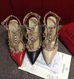 summer logo women shoes 2019 - 2019 Classics Brand Women High Heel Sandals sheepskin Rivets Shoes V Logo 10cm 8cm 6cm Thin Heel Women Wedding Shoes Sti