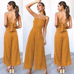 Playsuit Bow Australia - 2019 Hottes Polka Dot Sleeveless Beach Playsuit With Bow Boho Summer Jumpsuits Women Spaghetti Strap Floral Print Romper Jumpsuit Long Pants