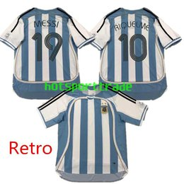 Discount 2xl soccer jerseys - 19 MESSI 10 RIQUELME S-2XL Retro Argentina Soccer Jersey 2006 world cup THAI Vintage Classic Collection 06 07 football s