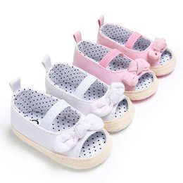 Baby Girl Summer Canvas Shoes Australia - Sweet Canvas Newborn Baby Shoes Footwear Infant Toddler First Walkers Summer Girls Princess Bow Peep Toe Dress Shoe