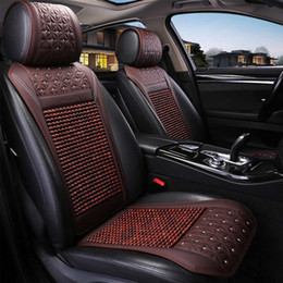 Summer Seat coverS online shopping - Car Wooden Bead Seat Cushion Summer Cool Leather Car Seat Cover Breathable Handmade Auto Mat Pad Universal Auto Accessories