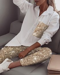 Wholesale polyester t shirt dress for sale - Group buy Women Sequin Long Sleeve Shirt Glitter Shiny Pant Sets Casual Women s Two Piece Sets tracksuit white T shirt suits