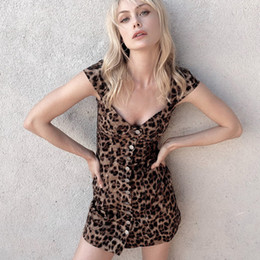 f630f25366ff Leopard Button Up Dress Women Short Sleeve Sstraight Sexy Mini Dresses 2019  New Arrival Spring Summer Wild Vestido Lady