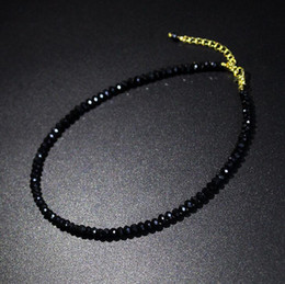 03308403220572 Simple Short necklaceS online shopping - Simple Black Crystal Neck Chain  Colorful Short Clavicle Chain Fashion