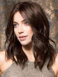 Medium Dark Brown Hair Australia - 100% Real hair! Fashion Beautiful Girl Women Medium Dark Brown Wavy Wigs