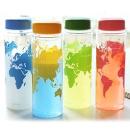 Map pouch online shopping - Portable Plastic Cup with POuch Bag Package My Water Bottle World Map Cup Colors Mugs Lemon Juice Sports Water Bottle