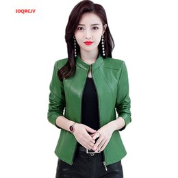 $enCountryForm.capitalKeyWord Australia - 2019 Plus Size Women's Washed PU Leather Jacket Short Full Sleeve Standing Collar Zipper Motorcycle Coat Lady Basic Jacket W1126
