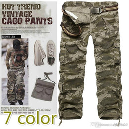 Cotton Combat Trousers NZ - Men Cotton Outdoor Cargo Pants Casual Pleated Multi Pockets Military Army Cargo Camo Combat Work Pants Utility Work Dungaree Trousers