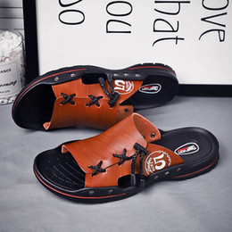 platform slippers Australia - Men Sandal Shoes Big Size 39-44 Beach Sandals Water Shoes Platform Flats Luxury Slides Men Brown Black Slippers Fashion