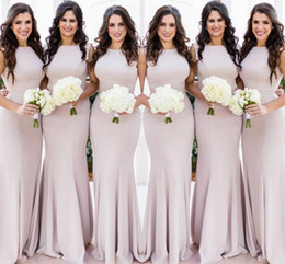 Simple evening dreSSeS deSignS online shopping - Simple Designed Summer Bridesmaid Dresses Mermaid Halter Neck Stretchy Long Wedding Guest Gowns Plus Size Maid of Honor Evening Wears BM0627