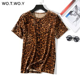 $enCountryForm.capitalKeyWord Australia - WOTWOY Leopard Print T shirts Women 2019 Spring Summer Hot Tees Casual O-Neck Short Sleeve Harajuku Cool T-shirt Female Tops T190601