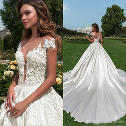Summer Wedding Pictures Australia - Vintage Cap Sleeve Lace Wedding Dresses 2019 Summer Satin A-line Appliques Beaded Button Back Sheer Bridal Gowns Plus Size