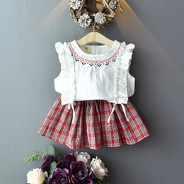 $enCountryForm.capitalKeyWord Australia - baby skirt Girl designer clothes boutique clothing infant toddler garments children clothes 2019 Korean Fashion kids Lace Sleeve Plaid Skirt