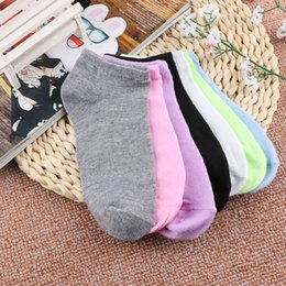 Color Cotton Candy Australia - 2018 Autumn 1 Pair Fashion Casual Candy Color Women Cotton Boat Socks Short Ankle Low Cut Lovely Crew Socks 7 Colors
