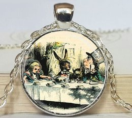 $enCountryForm.capitalKeyWord NZ - Alice in Wonderland Photo Pendant Necklace Crazy Hatter Hare Fairy Tale Art Pendant with Ball Chain Necklace 3 colors