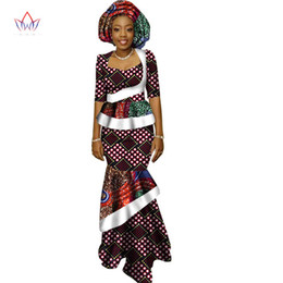 Chinese  African Long Print Skirt Maxi Dress Suit Half Sleeve Crops Tops Splice Dress Bazin African Clothing for Women WY1417 manufacturers