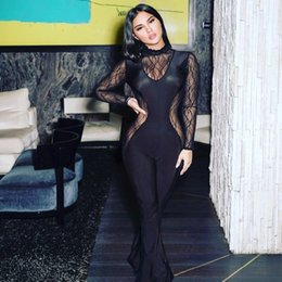 see through lace jumpsuits 2019 - Selling Bandage Full Sleeve Mesh Lace Solid Color Jumpsuits See Through Patchwork Felman Pants cheap see through lace ju