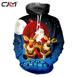 elk clothes Australia - CJLM Men's Christmas Moon Pattern 3D Printed Lovely Hoodied Santa Claus And Elk Clothing Man Casual Trend Pullover