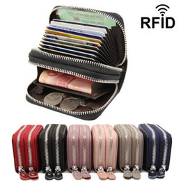 $enCountryForm.capitalKeyWord NZ - RFID double zipper wallet real leather coin card purse lady men woman top quality card package female card bag Factory products wholeseller