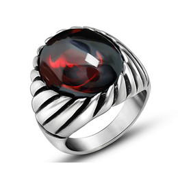 red mens rings Canada - New Arrival Black Onyx Red Opal Ring For Men Thick Band In Antique Titanium Stainless Steel Vintage Gothic Style Mens Acessories