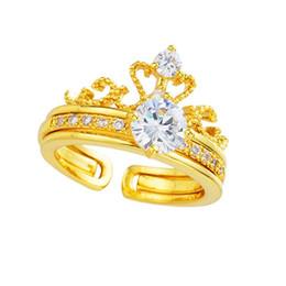 Adjustable White Gold Diamond Ring UK - Crown Diamond Ring Opening Adjustable Two-in-one Combination Gold-plated Detachable Diamonds Noble Elegant Love Ring Luxury Designer Jewelry