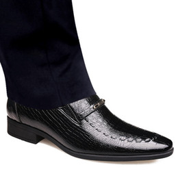 formal shoes patterns 2019 - Men's Shoes Crocodile Pattern 2019 Spring New Slip on Business Pointed Toe Patent Leahter Formal Office Shoes SIze