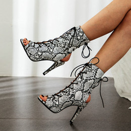 open toe leopard sandals Australia - Snake Print Sexy Women High Heel Ankle Boots Sandals Open Toe Summer Heeled Shoes Lace-Up Slingback Leopard Heels Yellow Green