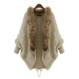 $enCountryForm.capitalKeyWord UK - Hot Women Fur Collar Cardigan Imitation Raccoon Hair Female Sweater Rear Drawstring Design V-Neck Batwing Sleeve Winter Outwear