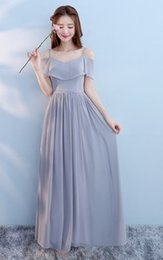 hot sexy evening wedding dresses 2020 - Floor Length Polyester Wedding Evening Dress Hot Sale Multiple Styles One Colors Plus Size Gray Long Maxi Bridesmaid Dre