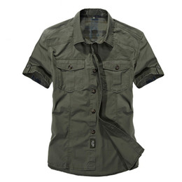 $enCountryForm.capitalKeyWord Australia - Casual Dress Shirt Men Slim Fit Military Style Army Green Male For Boys Khaki Mens Short Sleeve Cotton Designer Breathable Brand Y19071701