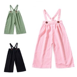 suspender elastic NZ - Kids Pants INS Baby Girls Trousers Solid Suspender Bandage Mid Waist Long Pants Overalls Jumpsuits Baby Kids Clothing Q476