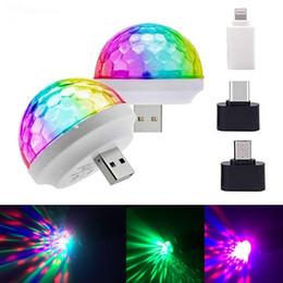 Usb crystal ball online shopping - Disco Lights Mini USB Colorful Led Night Light Self propelled Crystal Magic Ball Stage Power Supply Lamp Romantic Nightlight