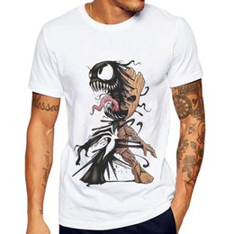 mens tees sale NZ - New Sale Men T-shirt Groot And Venom Printed Funny T Shirts Short Sleeve Casual Tops Mens Clothing 100 Cotton Tee Shirt For Man Y19050902