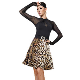 fdde9ed417aa Slim Latin Dance Costume Women Black Dancing Tops Leopard Print Skirt Cha  Cha Samba Tango Splitting Clothes Practice Wear DC1345