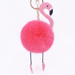 $enCountryForm.capitalKeyWord Australia - 11 Colors PU flamingo hair ball Key ring plush toys Bag Accessories kids School Small pendant free shipping