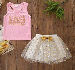 $enCountryForm.capitalKeyWord Australia - kids outfits clothes girls 2019 childrens boutique clothing toddler baby pink vest gold polka dot tutus skirts 2pcs sets little girl clothes