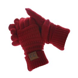 touch screen china UK - Winter Knitted CC Gloves made in China Touch Screen Gloves 8 Colors Fashion Stretch Woolen Knit fation Warm unisex Full Finger