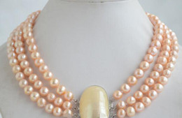 mabe pearls Australia - Jewelryr Pearl Necklace 3strands 9mm round pink freshwater pearl necklace mabe clasp Free Shipping