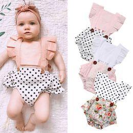 $enCountryForm.capitalKeyWord Australia - Newborn Baby Girls Clothes Splice Romper Jumpsuit Ruffle Sleeves Bodysuit Summer Outfits Set
