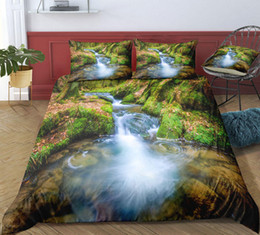 $enCountryForm.capitalKeyWord Australia - Thumbedding Dropship Waterfall Creek Forest Bedding Sets Twin Flowers Trees Printed 3D Duvet Cover Set Beautiful Landscape Bedclothes