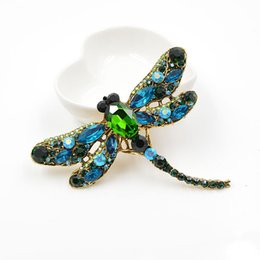 Vintage Flower Brooches Australia - Crystal Vintage Dragonfly Flower Brooches for Women Large Insect Brooch Pin Fashion Dress Coat Accessories Cute Jewelry