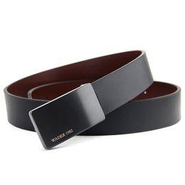 Male Fashion Suits Australia - Fashion Men's Belt Black Cowhide Genuine Leather Belt For Suit Wedding Belt Male Trousers Formal Wear Waistband Man Gift Y19051803